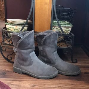 Gray Ugg Ankle Boots with Heel and Buckle